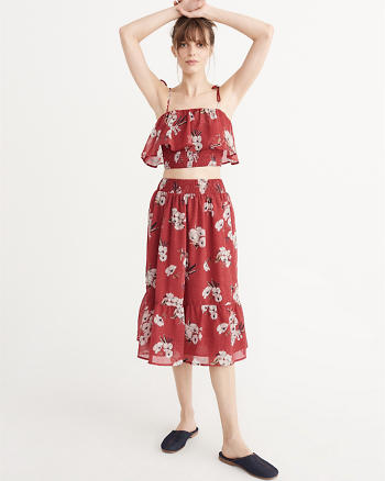 ANF Smocked Midi Skirt and Top Set