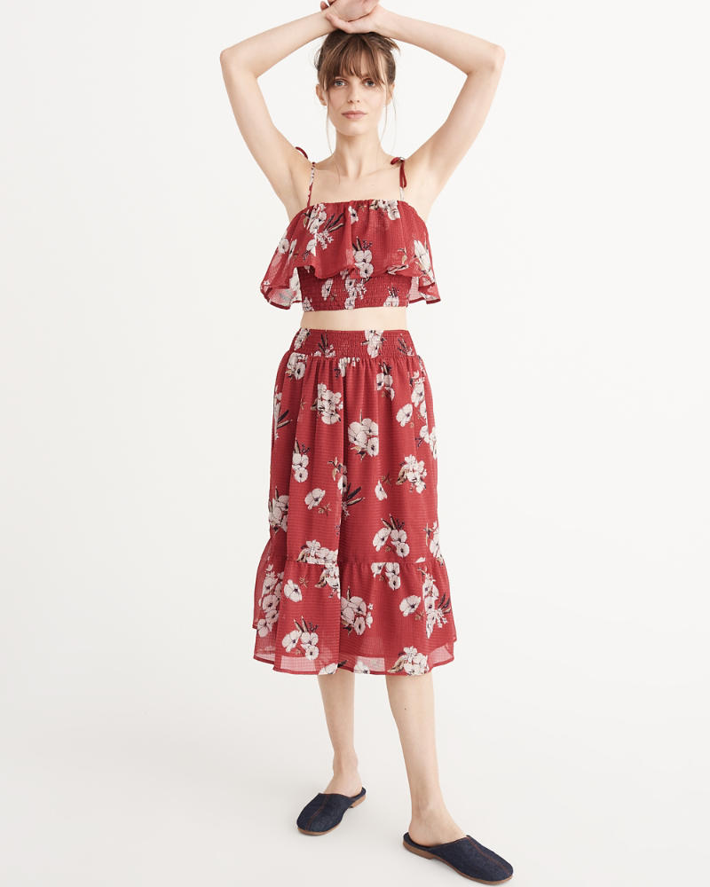 womens smocked midi skirt and top set womens dresses