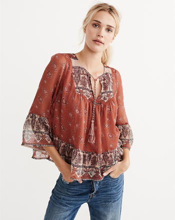 ANF Mixed Print Peasant Top
