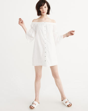 ANF Off-The-Shoulder Poplin Dress
