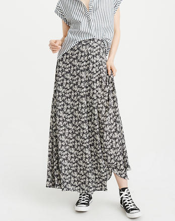 ANF Pattern Wrap Maxi Skirt