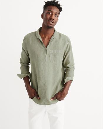 ANF Linen Half-Zip Shirt
