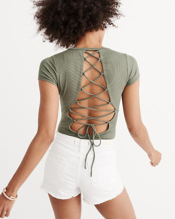 ANF Lace-Up Back Bodysuit