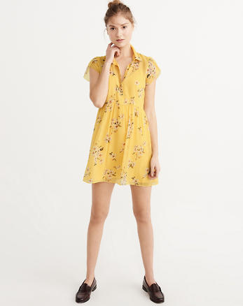 ANF Tulip-Sleeve Shirtdress