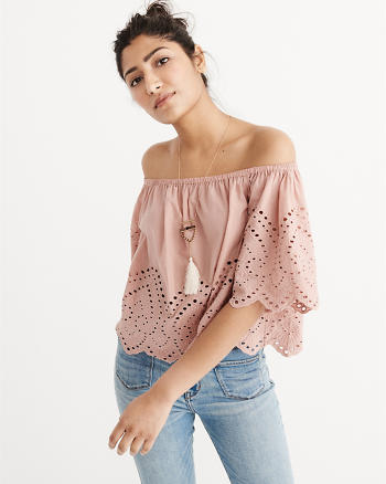 ANF Off-The-Shoulder Eyelet Top