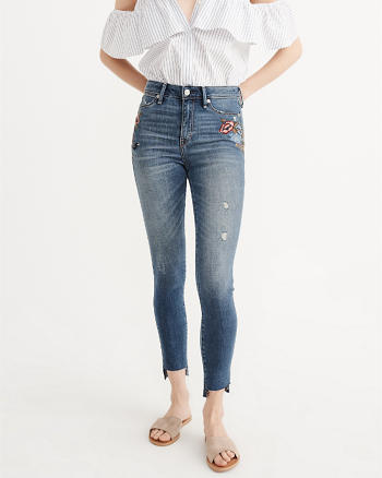 ANF Embroidered High Rise Super Skinny Jeans