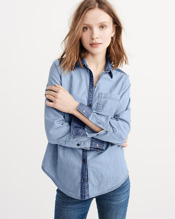 ANF Contrasted Denim Shirt