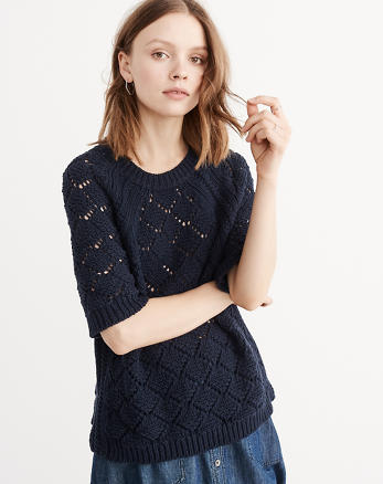 ANF Stitched 3/4 Sleeve Sweater