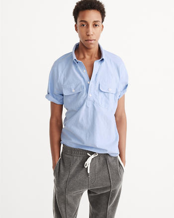 ANF Short-Sleeve Oxford Popover