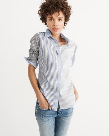 ANF Striped Poplin Shirt