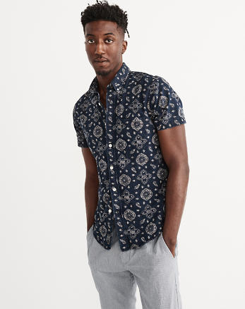 ANF Short Sleeve Indigo Cotton Shirt