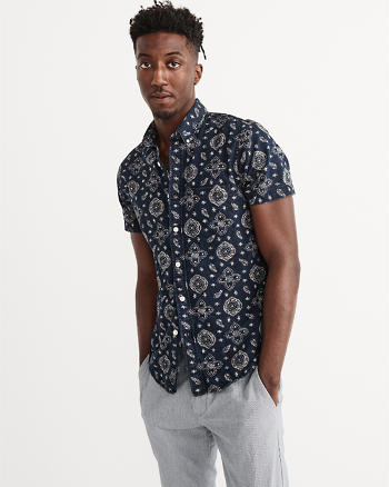 ANF Short Sleeve Indigo Cotton Shirt