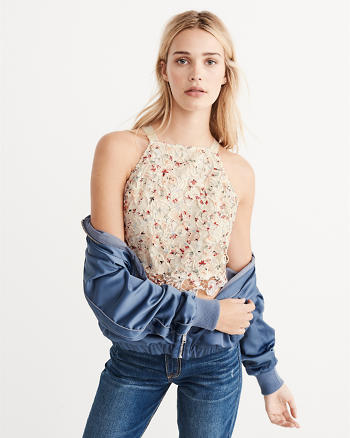 ANF Lace Slim Crop Top