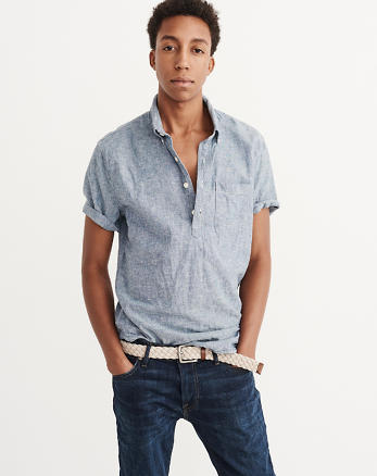 ANF Short-Sleeve Chambray Popover