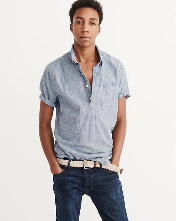 ANF Short Sleeve Chambray Shirt