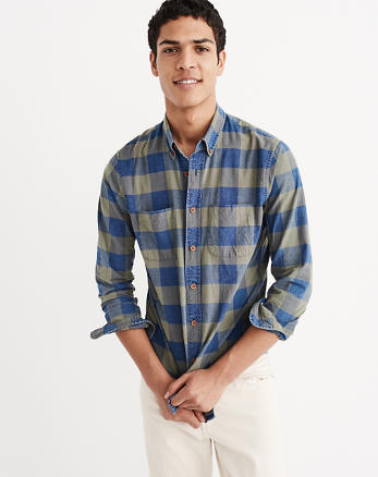 ANF Indigo Plaid Oxford Shirt