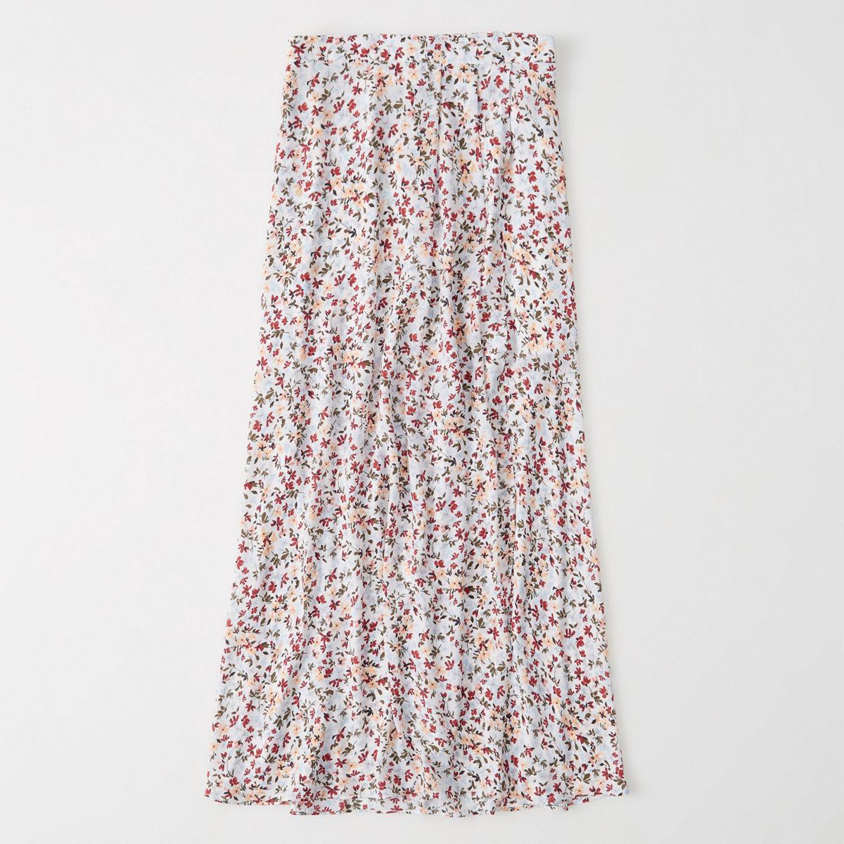 Pattern Wrap Maxi Skirt
