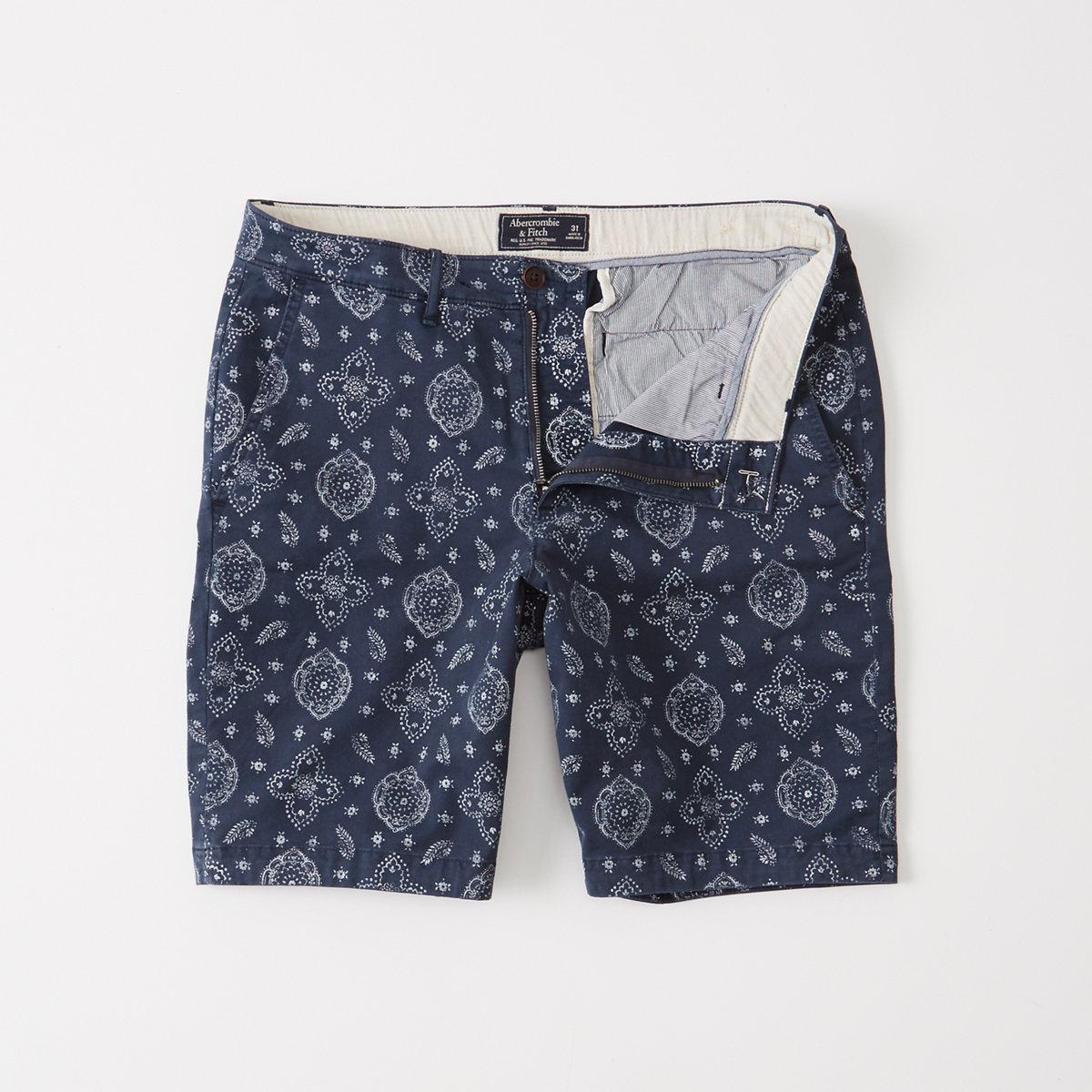 Printed Plainfront Shorts
