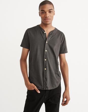 ANF Garment Dye Baseball Button-Up