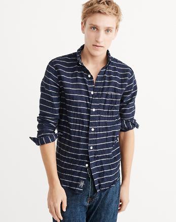 ANF Striped Linen Shirt