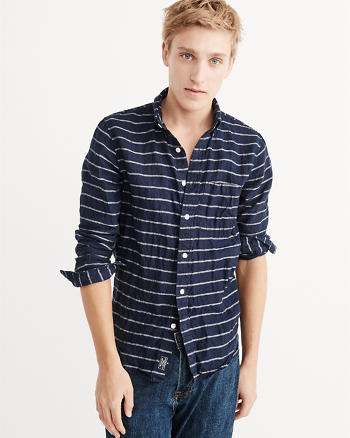 ANF Striped Linen Shirt
