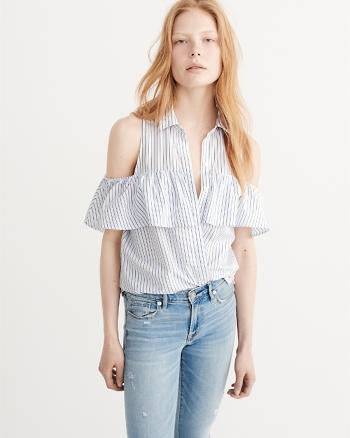 Cold-Shoulder Poplin Shirt