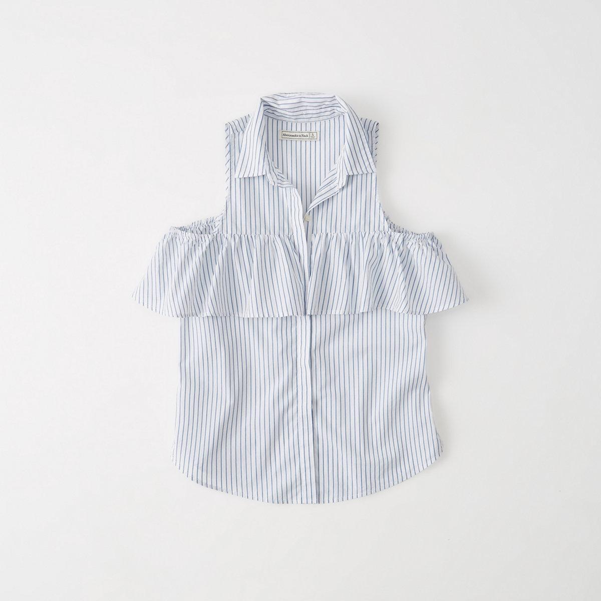 Cold-Shoulder Poplin Shirt
