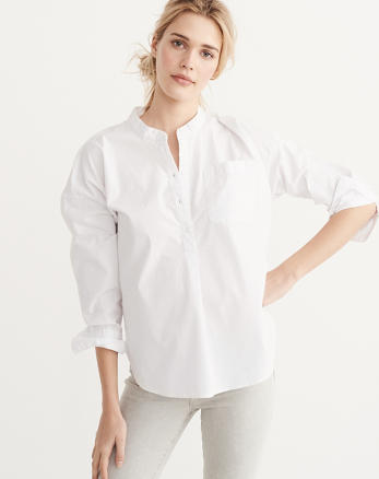 ANF Relaxed Sleeve Poplin Shirt