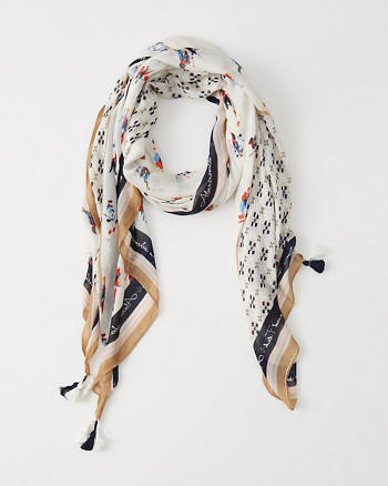 ANF Printed Fringe Scarf