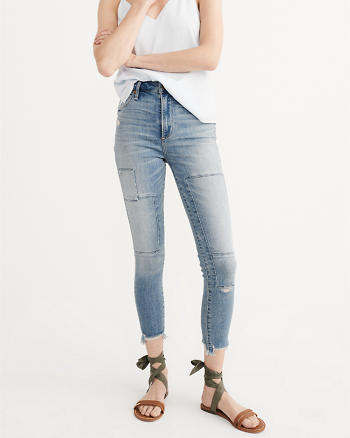 ANF High Rise Ripped Super Skinny Ankle Jeans