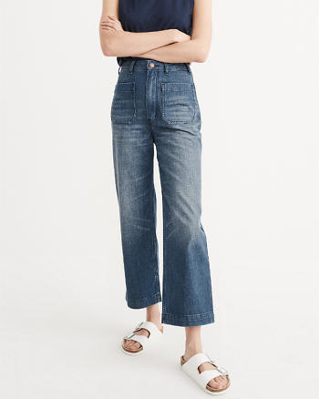 ANF High Rise Cropped Wide Leg Jeans