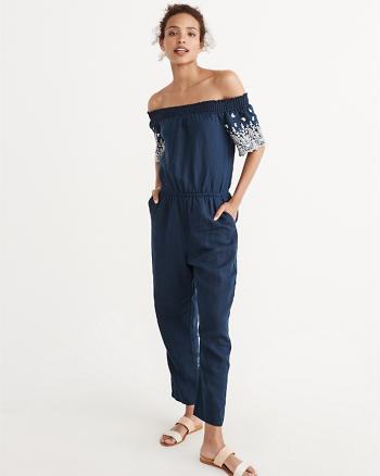 ANF Embroidered Off-The-Shoulder Jumpsuit