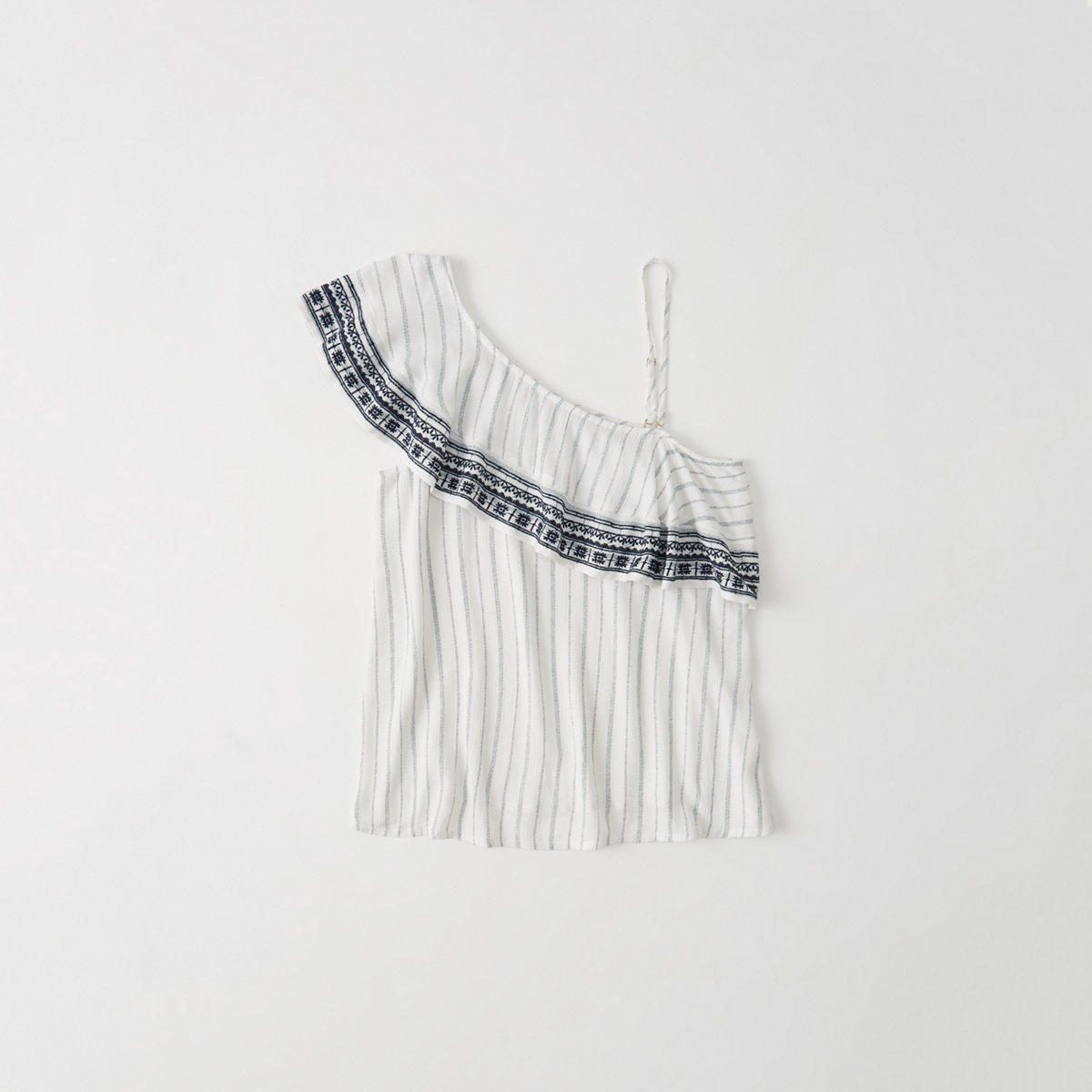 Embroidered One-Shoulder Ruffle Top