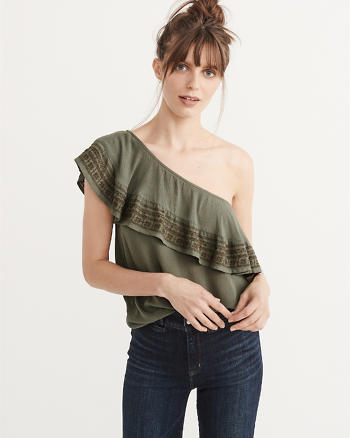 ANF Embroidered One-Shoulder Ruffle Top