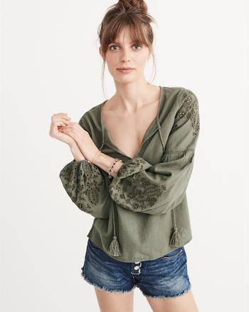 ANF Long Sleeve Embroidered Top