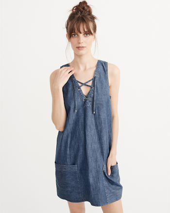 ANF Lace-Up Shift Dress