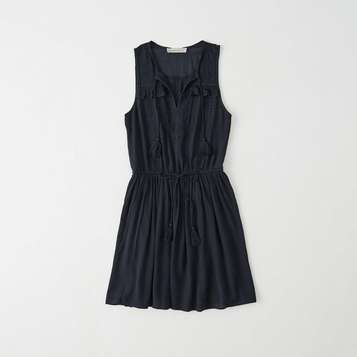 Cutwork Tie Waist Dress