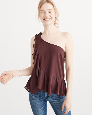 ANF One Shoulder Ruffle Top