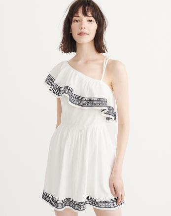 Embroidered One-Shoulder Dress