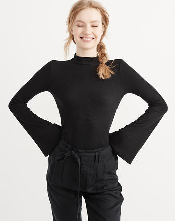 ANF Mock Neck Bell Sleeve Top