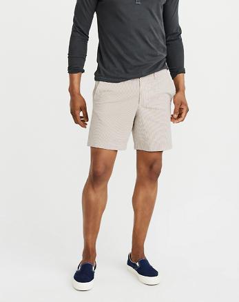 ANF Flat-Front Seersucker Shorts