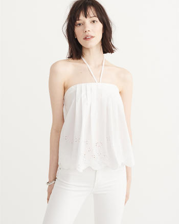 ANF Poplin Cutwork Halter Top