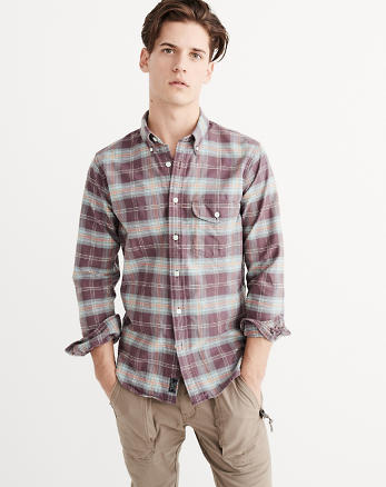 ANF Patterned Oxford Shirt