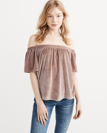 ANF Off-The-Shoulder Velvet Top