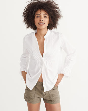 ANF Eyelet Sleeve Poplin Shirt