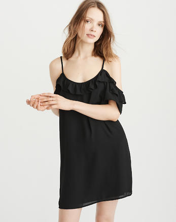 ANF Cold-Shoulder Ruffle Dress