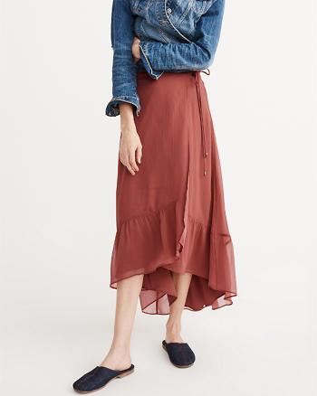 ANF Chiffon Wrap Maxi Skirt