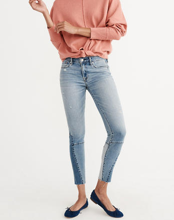 ANF Patch Hem Super Skinny Jeans