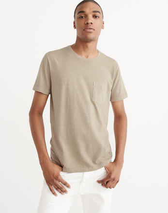 ANF Garment Dye Striped Pocket Tee