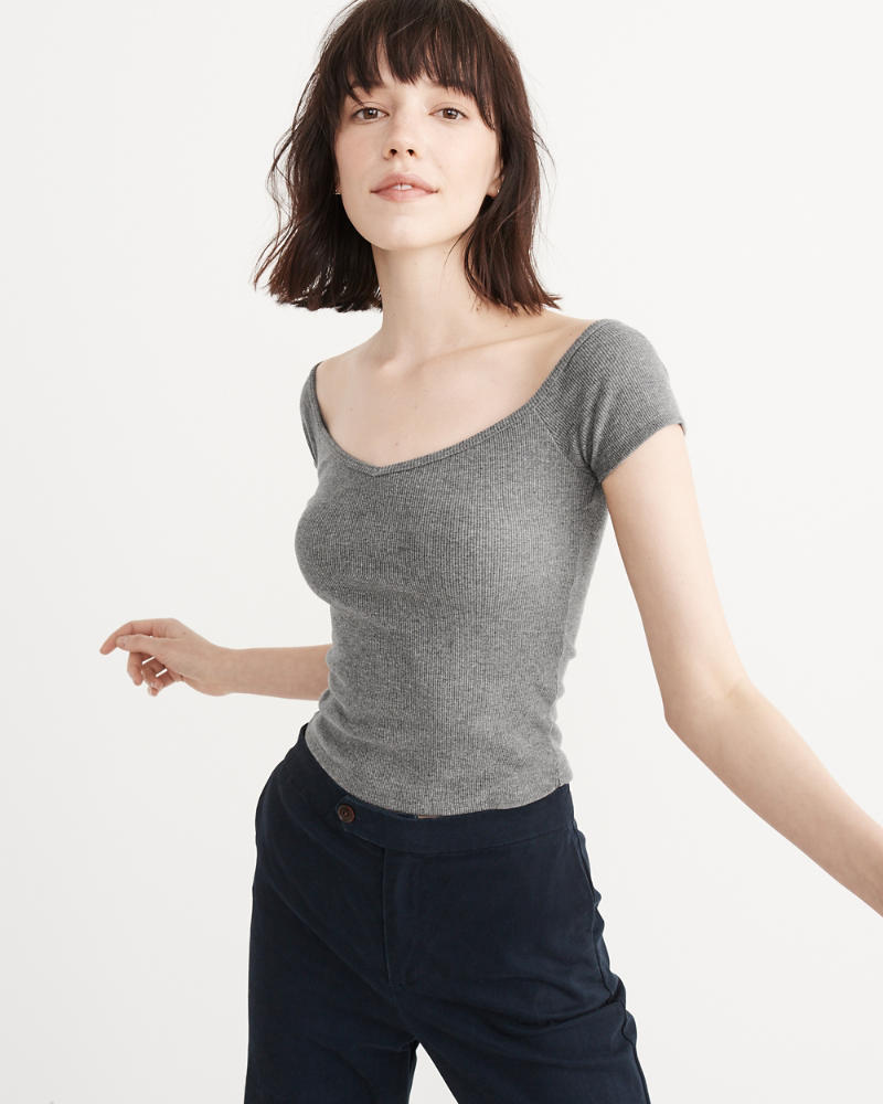 off-the-shoulder rib cropped top